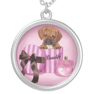 Puggle in Stripy Round Box Custom Necklace