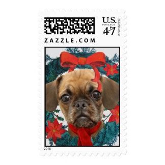 puggle in wreath Postage