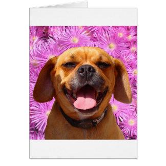 Puggle lindo tarjeta de felicitación