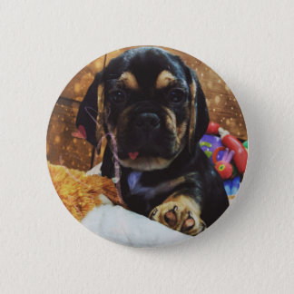 Puggle love pinback button