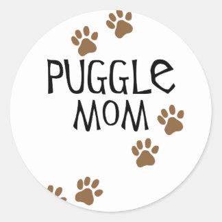 Puggle Mom Classic Round Sticker