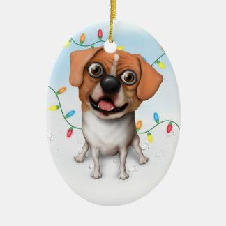 Puggle - ornamento del navidad adorno ovalado de cerámica
