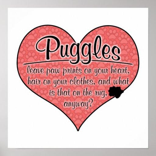Puggle Paw Prints Dog Humor Poster