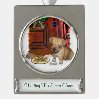 Puggle Personalized Christmas Silver Plated Banner Ornament