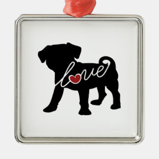Puggle (Pug / Beagle) Love Metal Ornament