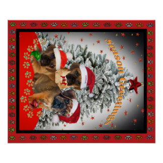 Puggle Puppies Christmas Greetings Poster