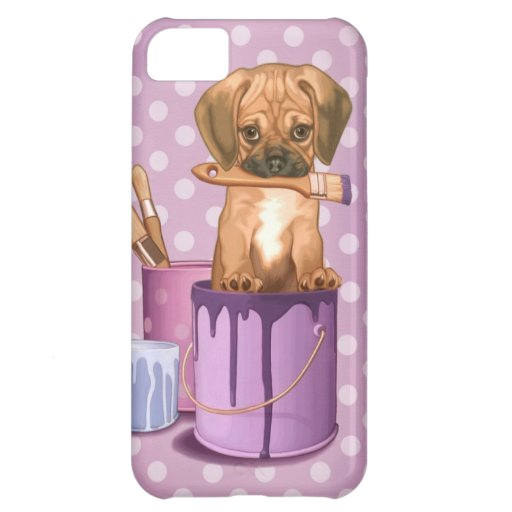 Puggle puppy in painting pot case for iPhone 5C