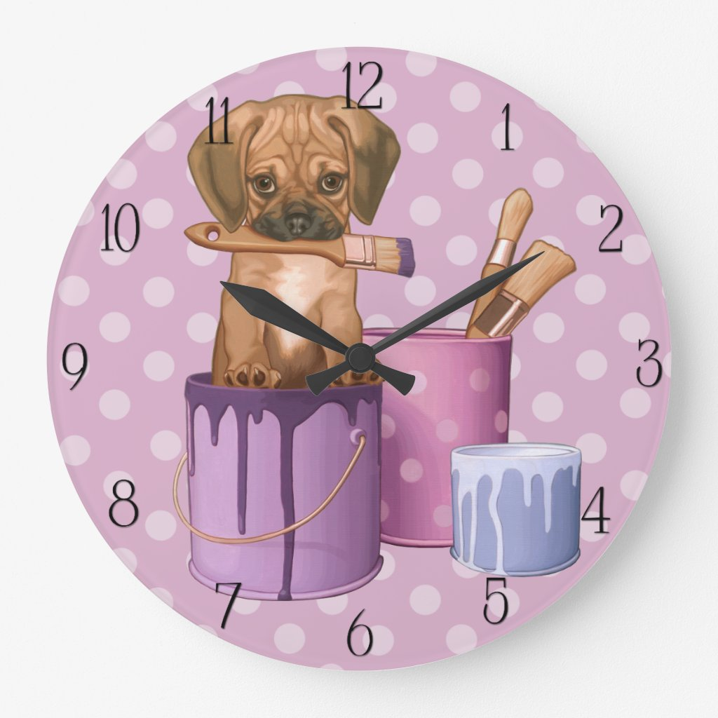 Puggle puppy in painting pot Clocks