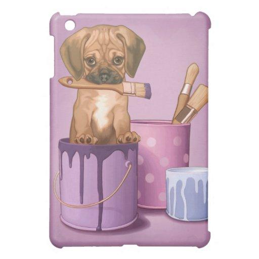 Puggle puppy in painting pot iPad mini case