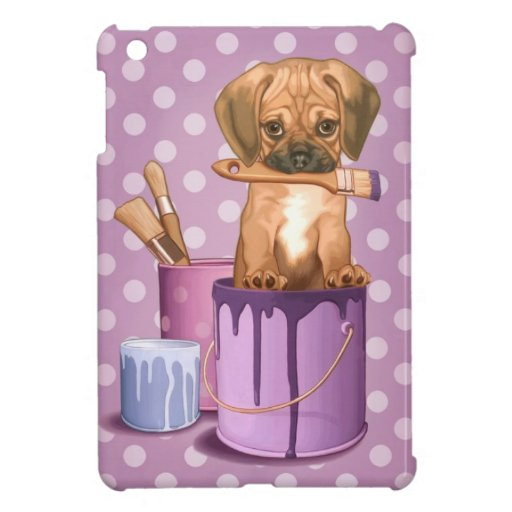 Puggle puppy in painting pot case for the iPad mini