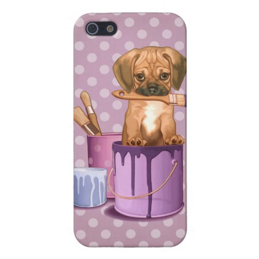 Puggle puppy in painting pot iPhone 5 case