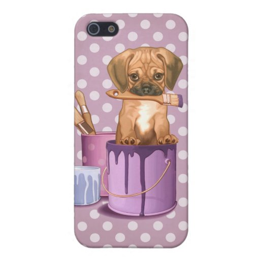 Puggle puppy in painting pot iPhone 5/5S case