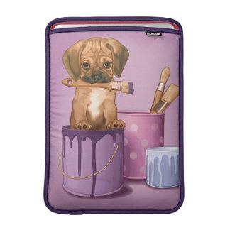 Puggle puppy in painting pot MacBook sleeve