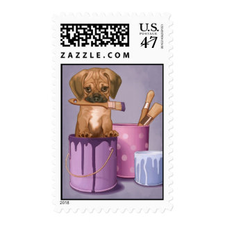 Puggle puppy in painting pot postage