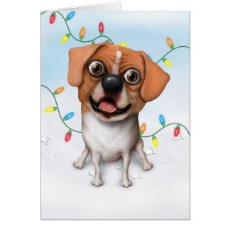 Puggle - tarjeta de Navidad