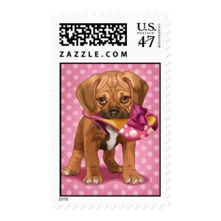 Puggle y zapato sellos postales