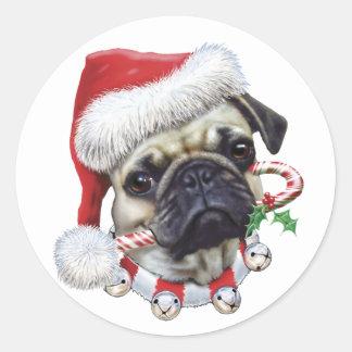 Puggy Christmas Classic Round Sticker