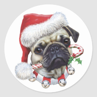 Puggy Christmas Classic Round Sticker