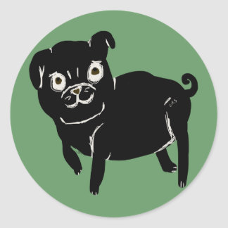 Puggy Doodle Classic Round Sticker