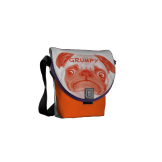Puggy gruñón anaranjado coralino personalizado bolsas messenger
