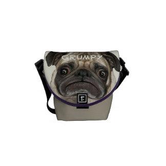 Puggy gruñón personalizado bolsas de mensajería