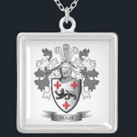 """Pugh Family Crest Coat of Arms Silver Plated Necklace<br><div class=""""desc"""">Pugh family crest and Welsh Pugh coat of arms. For men with the Pugh surname,  and for women with the Pugh last name. Click &#39;Pugh Family Crest&#39; to see all our designs featuring the Pugh family name.</div>"""