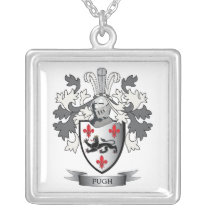 Pugh Family Crest Coat of Arms Silver Plated Necklace