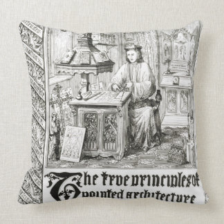 Pugin at work, frontispiece from 'True Principles Throw Pillow