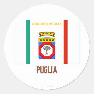 Puglia flag with name classic round sticker