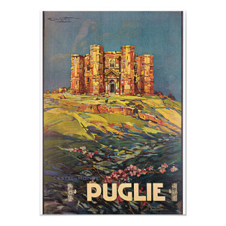 Puglie, Italy Castel del Monte Vintage Travel 5x7 Paper Invitation Card