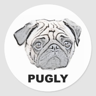 PUGLY the cute and ugly pug Classic Round Sticker