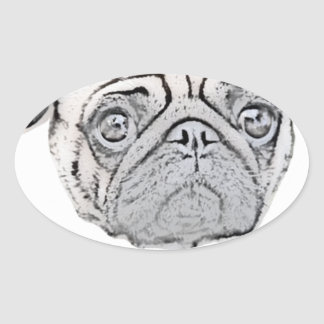 PUGLY the cute and ugly pug Oval Sticker