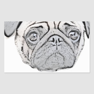 PUGLY the cute and ugly pug Rectangular Sticker