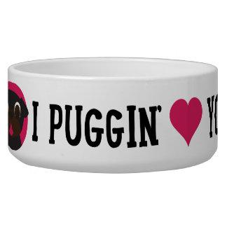 Pugnacious Gifts I Puggin' Love You Black Pug Bowl Pet Water Bowl