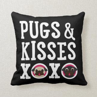 Pugnacious Gifts Pugs & Kisses Black Square Pillow