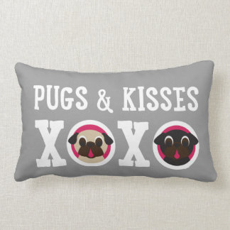 Pugnacious Gifts Pugs & Kisses Gray Pillow