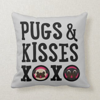 Pugnacious Gifts Pugs & Kisses Gray Square Pillow