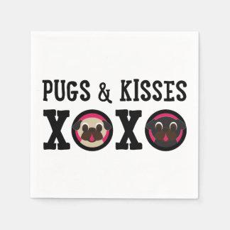 Pugnacious Gifts Pugs & Kisses Napkins Standard Cocktail Napkin