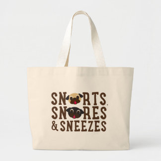 Pugnacious Gifts Snorts, Snores & Sneezes Jumbo Tote Bag