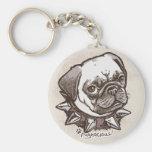 Pugnacious Pug by Mudge Studios Keychains
