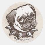 Pugnacious Pug by Mudge Studios Classic Round Sticker