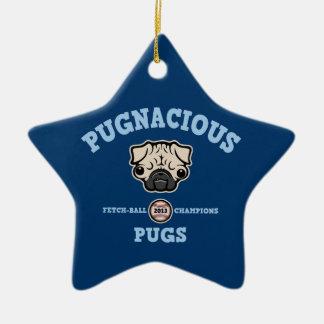 Pugnacious Pugs Ceramic Ornament