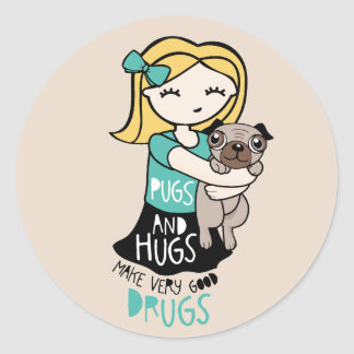 Pugs and Hugs Classic Round Sticker