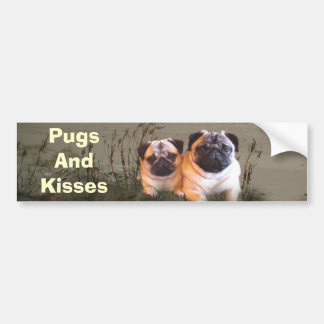 Pugs and Kisses Bumper Sticker Car Bumper Sticker