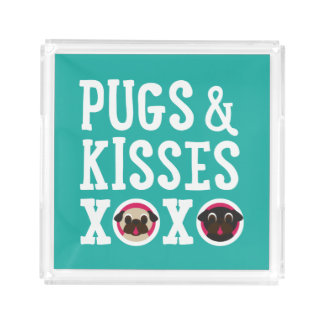 Pugs and Kisses XOXO Black and Fawn Pugs Serving Tray