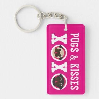 Pugs and Kisses XOXO Fawn Black Pugs Double-Sided Rectangular Acrylic Keychain