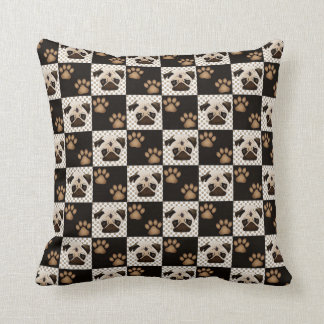 Pugs and Pawprint Quilt Throw Pillow