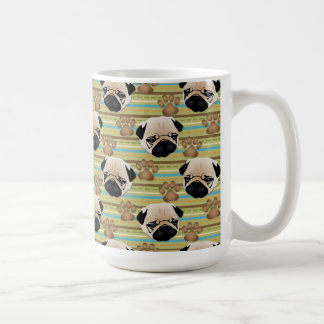 Pugs and Paws on Colorful Stripes Classic White Coffee Mug