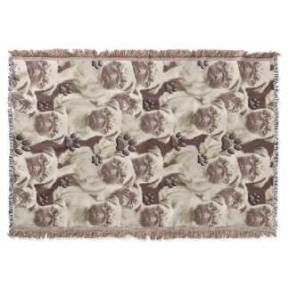 Pugs and Paws Throw Blanket