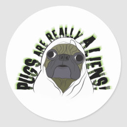 pugs are really aliens classic round sticker